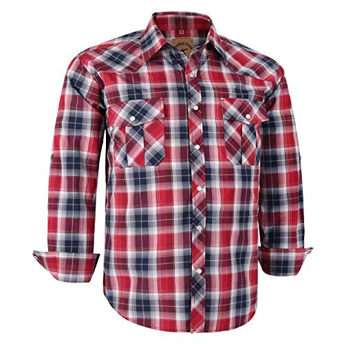 Coevals Club Men's Long Sleeve Casual Western Plaid Snap Buttons Shirt (S, 24# Black, ()