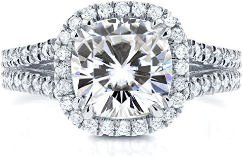 Kobelli Forever One (D-F) Moissanite and Halo Diamond Engagement Ring 2 1/2 CTW 14k White Gold
