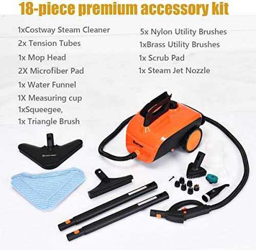 home, kitchen, vacuums, floor care, steam cleaners, steam mops, accessories,  steam cleaners 9 picture COSTWAY Multipurpose Steam Cleaner with 18 Accessories, Heavy in USA