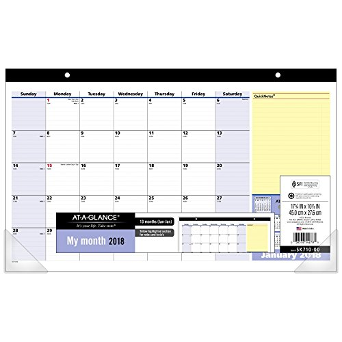 """Compact Desk Calendar (AT-A-GLANCE Compact Monthly Desk Pad Calendar, January 2018 - January 2019, 17-3/4 """" x 10-7/8"""", QuickNotes (SK71000))"""
