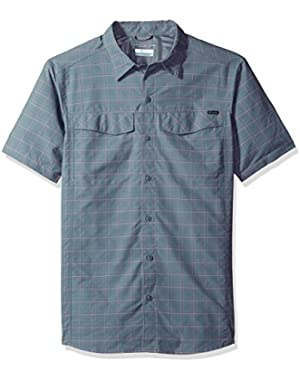 Men's Silver Ridge Multi Plaid Short Sleeve Shirt, Grey Ash Dobby Plaid, Large