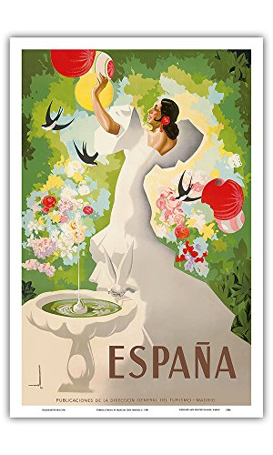 Espana (Spain) - Dancer with Fountain and Birds - Vintage World Travel Poster by Marcias Jose Morell c. 1941 - Master Art Print - 12in x 18in