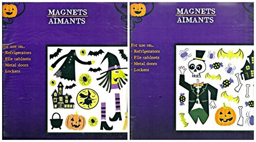 Assorted Halloween Themed Refrigerator Magnets - 2 Sheets, 38 pieces