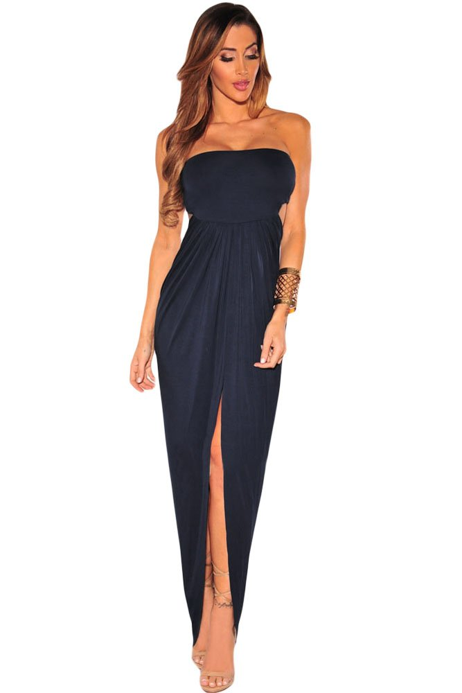 Navy blue Draped Hollow-out Maxi Dress size 10-12