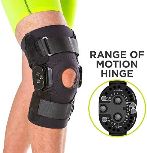 BraceAbility Torn Meniscus ROM Knee Brace | Hinged Post Surgery Support with Flexion/Extension Control for Hyperextension & Locking Treatment, Ligament (PCL/ACL) Tears, Osteoarthritis (XL)