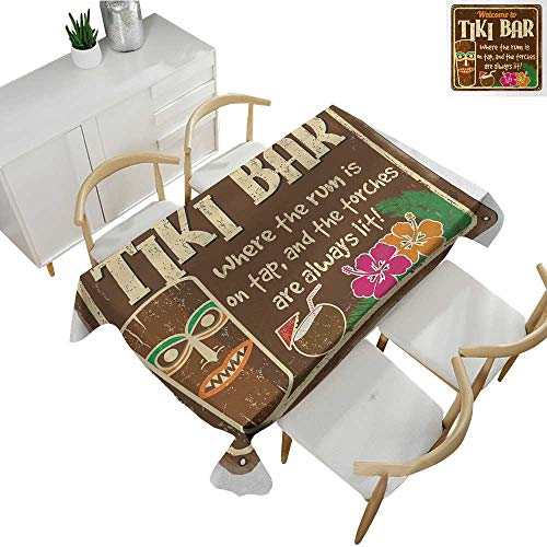 Tiki Bar,Outdoor Tablecloth Aged Old Frame Sign of Tiki Bar with Inspirational Quote Leisure Travel Print Printed Tablecloth Multicolor 60