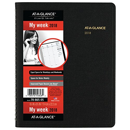 "AT-A-GLANCE Weekly Appointment Book / Planner, January 2018 - January 2019, 6-7/8"" x 8-3/4"", Black (7086505)"