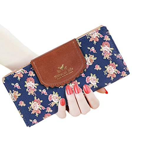 SeptCity Womens Wallet Cute Floral Soft Leather Clutch Gift for Her, 2071 (Twilight Blue) by SeptCity