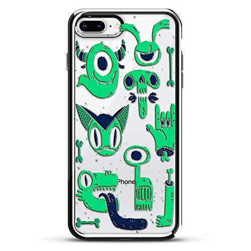 Spooky Monsters Bones Skulls & Cats | Luxendary Chrome Series designer case for iPhone 8/7 Plus in Silver