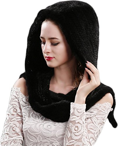 Womens Mink Fur Winter Hat-Real Winter Knit Warm Lady Beanie Genuine Fox Fur Pompom Hats (Black) by Nerissa