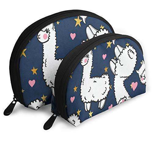 Makeup Bag Cute Alpacas Hearts Portable Shell Travel Bags Organizer For ()
