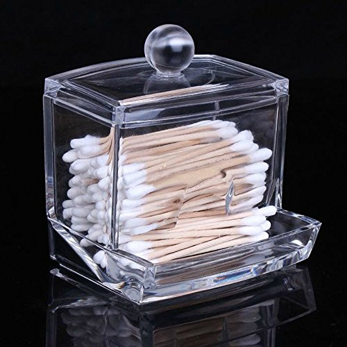 51N9k97Vu6L - Cosmos Clear Acrylic Cotton Swabs Cotton Ball Cosmetics Holder Box Organizer