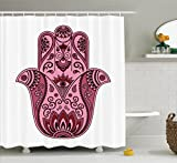 Ambesonne Hamsa Decor Collection, Colored Open Arabic Hamsa Hand Folkloric Faith Symbol Amulet Cultural Eastern Boho Decor, Polyester Fabric Bathroom Shower Curtain, 84 Inches Extra Long, Pink