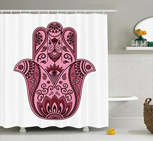 Ambesonne Hamsa Decor Collection, Colored Open Arabic Hamsa Hand Folkloric Faith Symbol Amulet Cultural Eastern Boho Decor, Polyester Fabric Bathroom Shower Curtain, 84 Inches Extra Long, Pink by Ambesonne