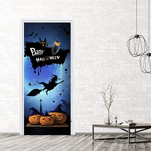 Iusun Halloween Creative Funny Door Sticker Window Glass Cabinet Removable DIY Mural Paper Decoration for Living Room Home Nursery Bedroom Office Supplies Decal (C) (Curtains Trim On)