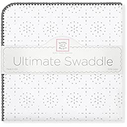 SwaddleDesigns Ultimate Swaddle Blanket, Made in USA, Premium Cotton Flannel, Sterling Sparklers