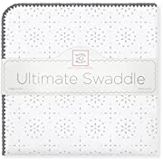 SwaddleDesigns Ultimate Swaddle Blanket, Made in USA Premium Cotton Flannel, Sterling Sparklers