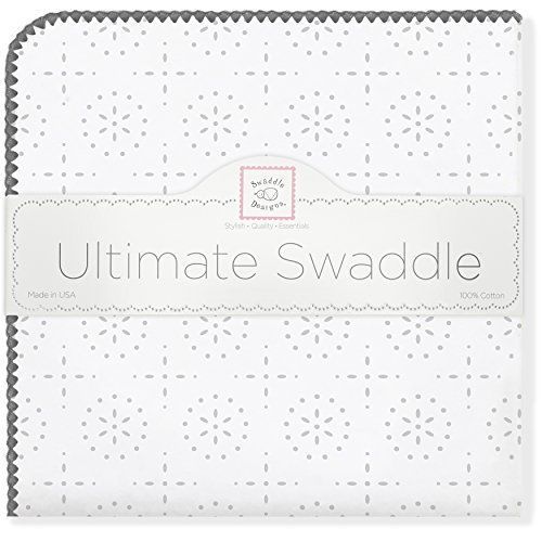 SwaddleDesigns Ultimate Swaddle Blanket, Made in USA Premium Cotton Flannel, Sterling Sparklers (Receiving Blanket Ultimate Trim)