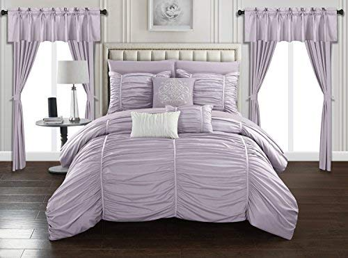 Chic Home Avila 20 Piece Comforter Set Ruffled Ruched Designer Bag Bedding-Sheets Window Treatments Decorative Pillows Shams Included, Queen, - Bedding Window Treatments