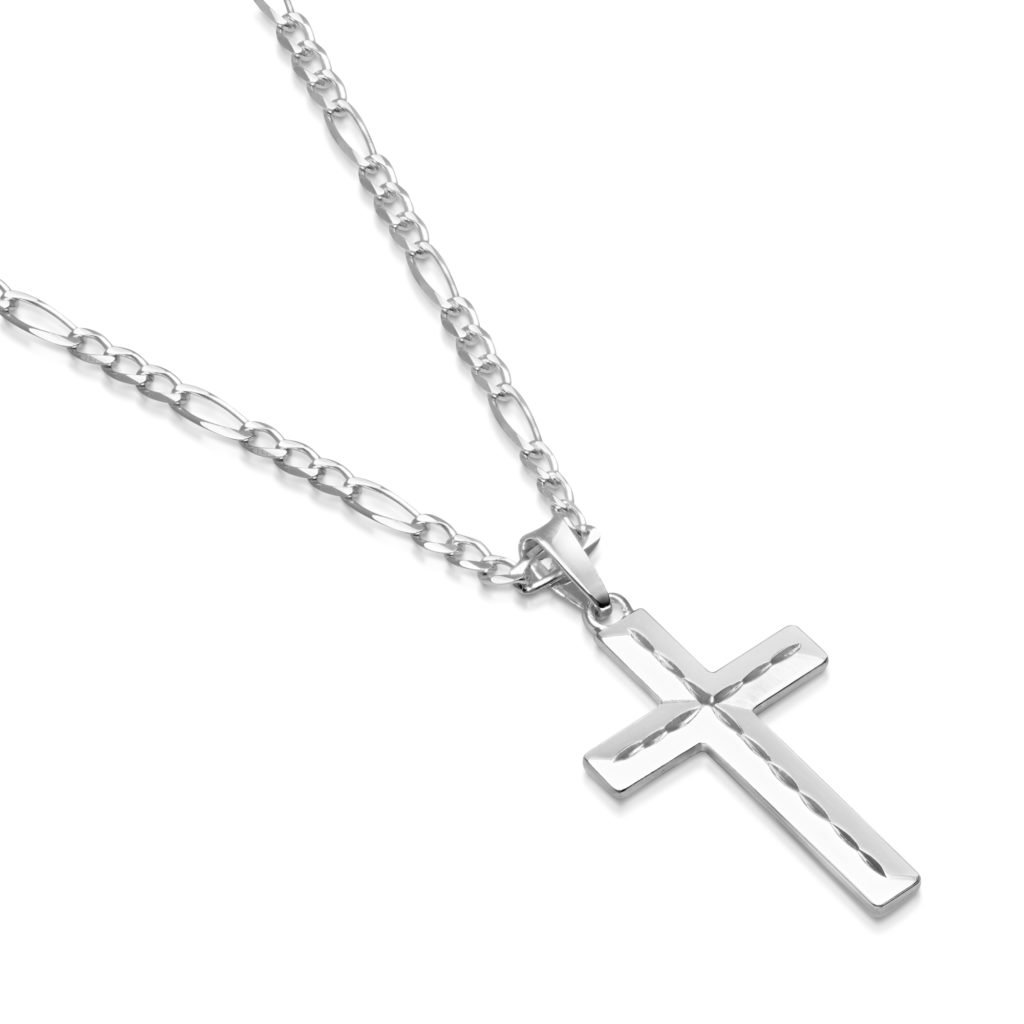 Mens Sterling Silver Cross Pendant Figaro Chain Necklace Italian Made - 3mm - 30 Inch