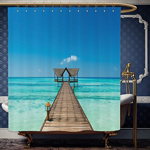 Wanranhome Custom-made shower curtain Scenery Decor Wooden Deck Tropical Exotic Ocean Sea with Horizon Caribbean Secret Paradise Blue Brown For Bathroom Decoration 72 x 108 inches