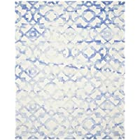 Safavieh Dip Dye Collection DDY717A Handmade Geometric Watercolor Ivory and Blue Wool Area Rug (9 x 12)