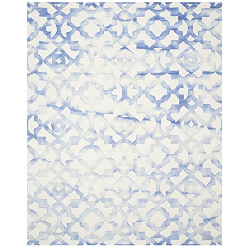 Safavieh Dip Dye Collection DDY717A Handmade Geometric Watercolor Ivory and Blue Wool Area Rug (9′ x 12′)