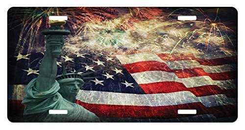 (Ambesonne American Flag License Plate, Composite Photo of States Idols with Fireworks on Background 4th of July, High Gloss Aluminum Novelty Plate, 5.88 L X 11.88 W Inches, Multicolor)