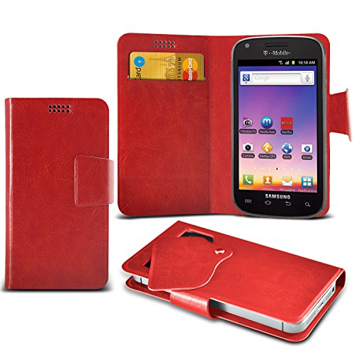 ONX3 Red Samsung Galaxy S Blaze 4G T769 Super Thin Faux Leather Wallet Flip Suction Pad Skin Case Cover With Credit Debit Cards Slot