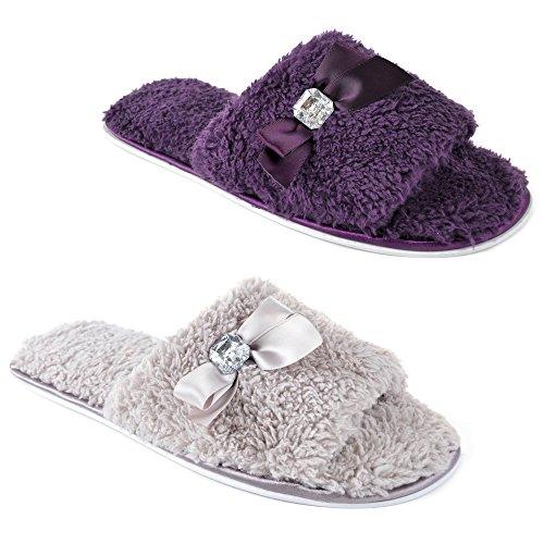 Krishwear - Zapatillas de estar por casa de forro polar para mujer morado