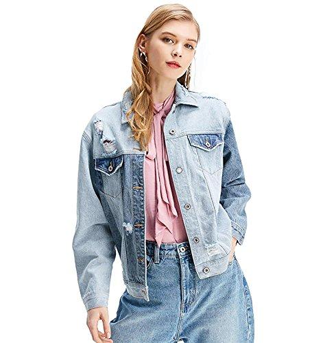 mujer chicas ajuste holgado labor de retazos chaqueta vaquera lavada chaqueta de mezclilla rasgada, S-L Light blue