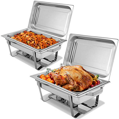 thebestshop99 Chafing Dish 9 Quart Stainless Steel Rectangular Chafer Full Size Buffet 2 Packs ()