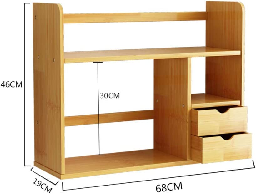 BXZ Desktop Organizer,Expandable Adjustable with Drawers Multipurpose Desktop Bookshelf for Desk Vanity Tabletop,E,68x19x46cm(27x7x18inch)