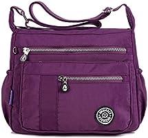 TianHengYi Womens Lightweight Nylon Cross-body Shoulder Bag Casual Messenger Bag with Zipper Pockets Rose