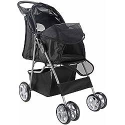 Pet Stroller Cat Dog 4 Wheel Walk Stroller Travel Folding Carrier (BLACK):Newpng by WW shop