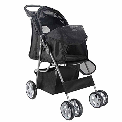 Pet Stroller Cat Dog 4 Wheel Walk Stroller Travel Folding Carrier (BLACK):Newpng by WW shop
