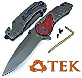 Rescue Survival Knife - TEK Spring Assisted Opening Emergency Rescue Folding Pocket Knife: Drop Point Blade - Razor Sharp - Everyday Carry Self Defense (Checkered Wood)