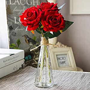 Mkono Blooming Rose with Glass Vase Artificial Rose Floral Arrangement Silk Floral Arrangements in Decorative Vase, Red 14