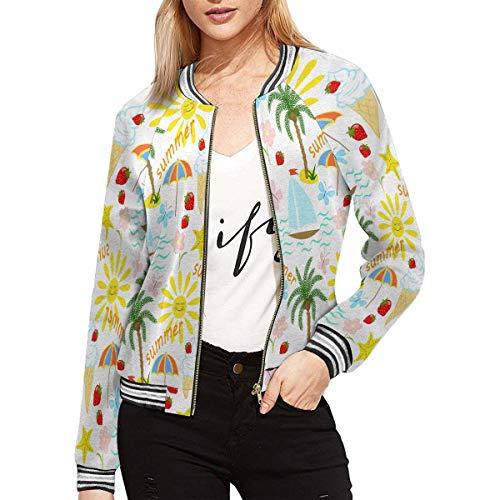 - INTERESTPRINT Women's Summer Vacation, Palm Tree, Sun, Sailing, Ice Cream Jacket Long Sleeve Zipper Classic Slim Fit Outwear L
