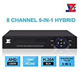 JZTEK 8ch 1080N Hybrid 5-in-1 AHD DVR (1080P NVR+1080N AHD+960H Analog +TVI+CVI) CCTV 8 Channel Standalone dvr Quick QR Code Scan w/Easy Remote View Home Security Surveillance Camera System