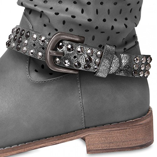 CASPAR Womens Boot Strap / Accessory with Studs - many colours - STB006 Metallic Dark Silver