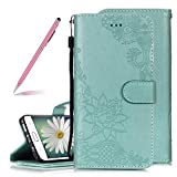 Luxury Pretty Lace Flowers Lotus Embossing Design Flip Wallet Case for Samsung Galaxy S7 Edge,SKYXD Retro 3D Handmade Embossed Floral Magnetic Closure Premium Soft PU Leather Cover - Green