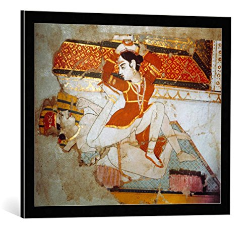 kunst für alle Framed Art Print: AKG Anonymous Lovers Tantra-Art 18th 19th Century - Decorative Fine Art Poster, Picture with Frame, 27.6x21.7 inch / 70x55 cm, Black/Edge Grey