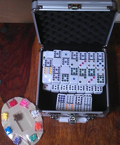 Mexican Train Domino Game. Aluminium Case. Double 12. by Elysium Enterprises