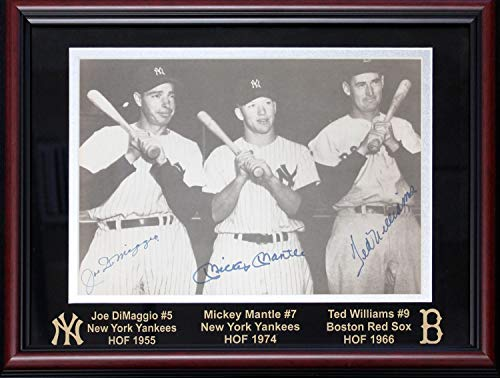 Mickey Mantle, Joe DiMaggio & Ted Williams Autographed Framed 11x14 Photo (PSA)