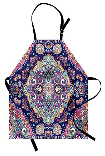 Ambesonne Ethnic Apron, Boho Style Mandala Figures Festive Colorful Spring Garden Themed Old Fashioned Tile, Unisex Kitchen Bib Apron with Adjustable Neck for Cooking Baking Gardening, Navy Pink