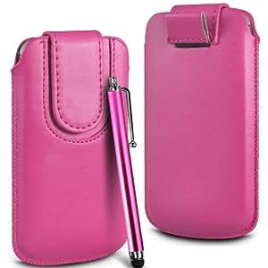 N4U Online Premium PU tirón del cuero del tirón Tab bolsa de la cubierta del caso con el magnética Cierre de correa y alta sensibilidad Stylus Pen Para Vodafone inteligente III 975 - Rojo