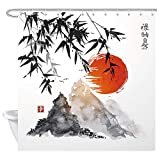 Design Your Own Shower Curtain NYMB Japanese Bamboo Trees Sun and Mountains Bath Curtain, Polyester Fabric Waterproof Asian Ink Painting Shower Curtains, 69X70 in, Shower Curtain Hooks Included, Red