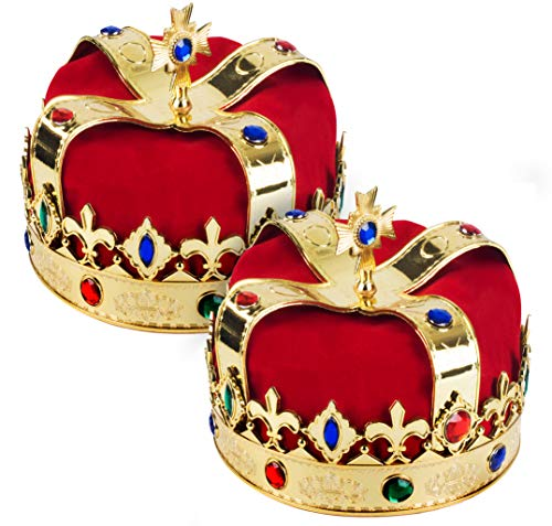 King Crown for Kids - Dress Up Hats - Gold King Crown - 2 Pack - King Costume by Funy Party ()