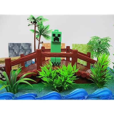 Gaming Themed Cake Topper Set Featuring Beloved Popular Gamer Characters and Decorative Themed Accessories: Toys & Games